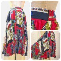 スカーフ柄プリーツスカート2型